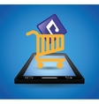 mobile music shopping cart technology vector image