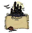 Halloween background with castle vector image