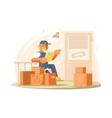 Uniformed deliveryman character vector image