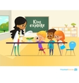 Smiling teacher and children looking through vector image