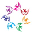Teamwork angels support logo vector image