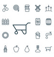 set of 16 garden icons includes wheelbarrow vector image
