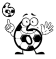 Number six with soccer ball skin and smiling face vector image