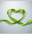 Green Ribbon Heart vector image