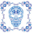 blue patterned skull with flowers in a frame vector image