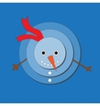 Cute snowman on blue background vector image