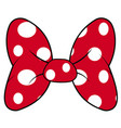 perfect bow of red fabric white dots pattern vector image