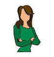 portrait female woman cartoon gesture image vector image