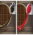 Set of label for dark chocolate with coffe and vector image