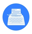 Typewriter icon in black style isolated on white vector image