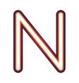 Glowing neon letter N vector image