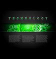 Metal Technology Panel With Green Glowing Gears vector image