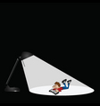 lamp and boy reading vector image vector image