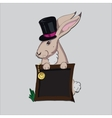 Colored hand drawn portrait of rabbit in a tall vector image