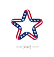 star with american flag colors and symbols design vector image
