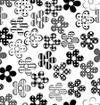Black and white patterned flowers seamless vector image vector image
