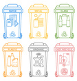 various colors outline separated garbage bins vector image
