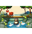 Wild animals by the river vector image vector image