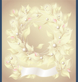 Background with flowers pearls petals and ribbon vector image vector image