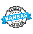 Kansas round ribbon seal vector image