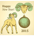 Sketch New Year ram and ball in vintage style vector image