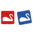 swan grunge textured icon vector image