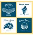 Seashells nautical logo templates set vector image