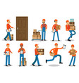couriers delivering packages delivery service vector image