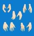 set of cartoon-style girl hands in different vector image