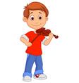 Boy cartoon playing his violin vector image vector image
