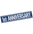 1st anniversary square grunge stamp vector image