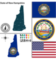 Map of New Hampshire with seal vector image