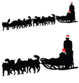husky dog pulling sled New Year with gifts vector image