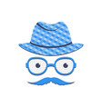 a man with a mustache in glasses and a hat vector image