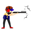 Man athlete shooting with rifle gun vector image