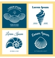 Seashells nautical logo templates set vector image