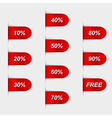 Set of glossy red sales labels vector image