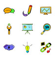 internet icons set cartoon style vector image