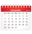 Stylish calendar page for December 2014 vector image vector image