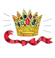 Golden crown with gems and ribbons vector image