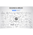 Business Break concept with Doodle design style vector image vector image