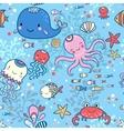 Cartoon marine seamless pattern vector image