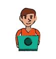 cartoon young man working green laptop design vector image