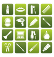 Flat cosmetic make up and hairdressing icons vector image
