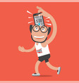 running man with sport activity application vector image