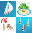 Summer concept of sandy beach Idyllic travel vector image
