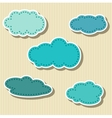 Set of cloud-shaped paper tags vector