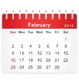Stylish calendar page for February 2014 vector image vector image