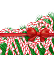 Christmas background with candy and bow vector image vector image