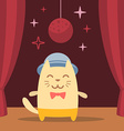 Character musician in costume hat and bow tie vector image